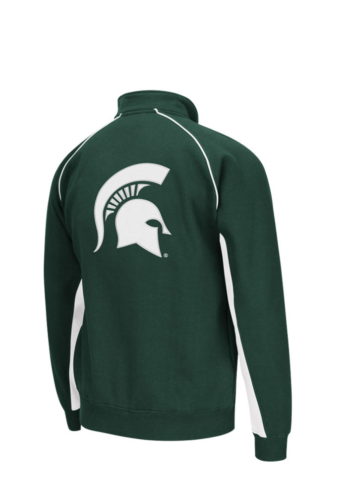 Colosseum Michigan State Spartans Mens Green Crest Long Sleeve 1/4 Zip Pullover - Image 2