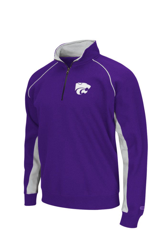 Colosseum K-State Wildcats Mens Purple Crest Long Sleeve 1/4 Zip Pullover - Image 1