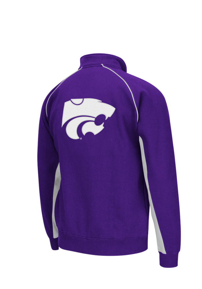 Colosseum K-State Wildcats Mens Purple Crest Long Sleeve 1/4 Zip Pullover - Image 2