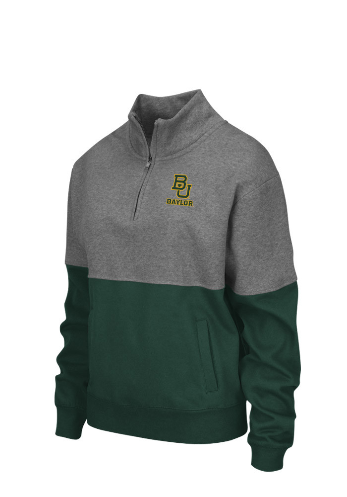 Colosseum Baylor Bears Womens Grey Spirit 1/4 Zip Pullover - Image 1