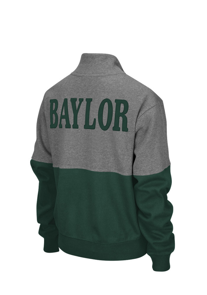 Colosseum Baylor Bears Womens Grey Spirit 1/4 Zip Pullover - Image 2