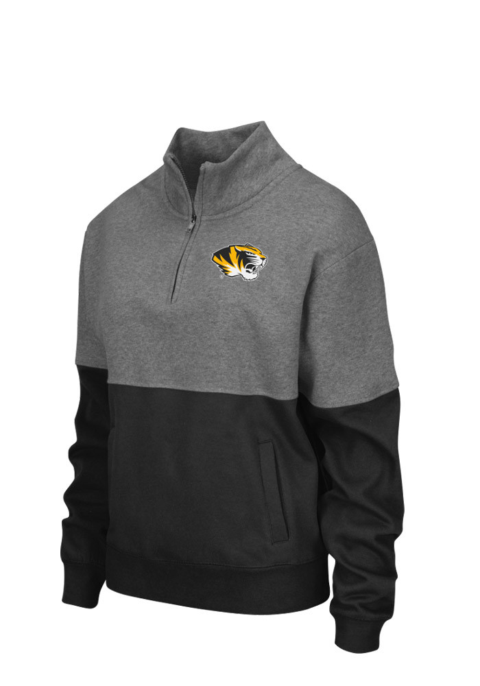 Colosseum Missouri Tigers Womens Grey Sprinter 1/4 Zip Pullover - Image 1
