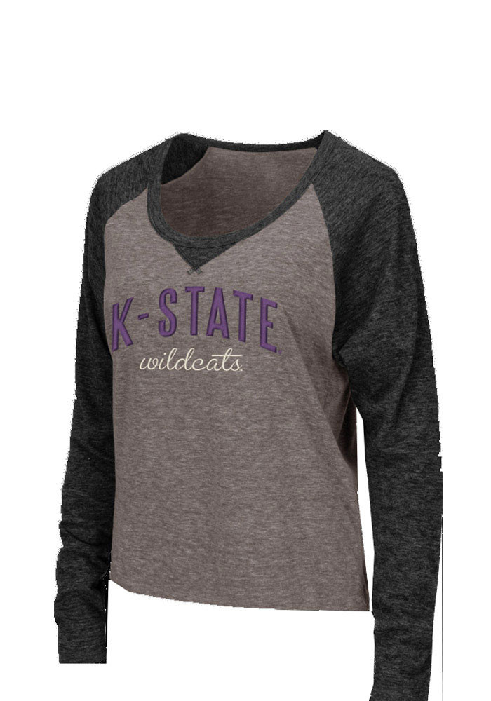 Colosseum K-State Wildcats Womens Grey Starlet Long Sleeve Scoop Neck - Image 1