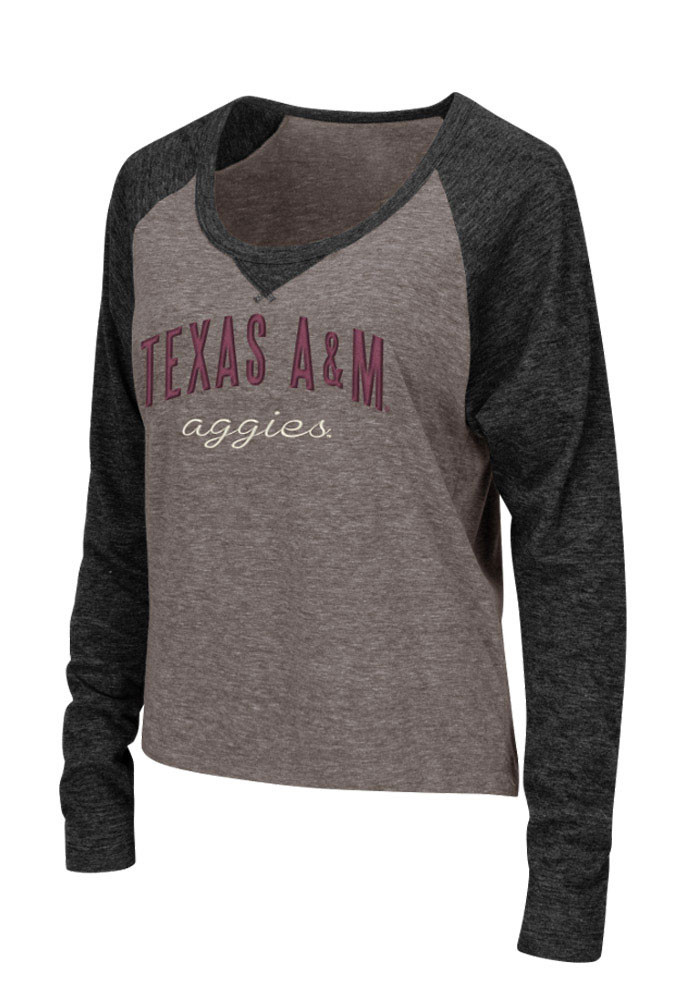 Colosseum Texas A&M Womens Grey Starlet Long Sleeve Scoop Neck - Image 1