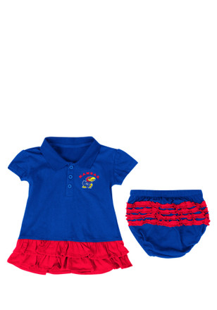 Colosseum Kansas Jayhawks Baby Girls Blue Infant Bella Ruffle Dress