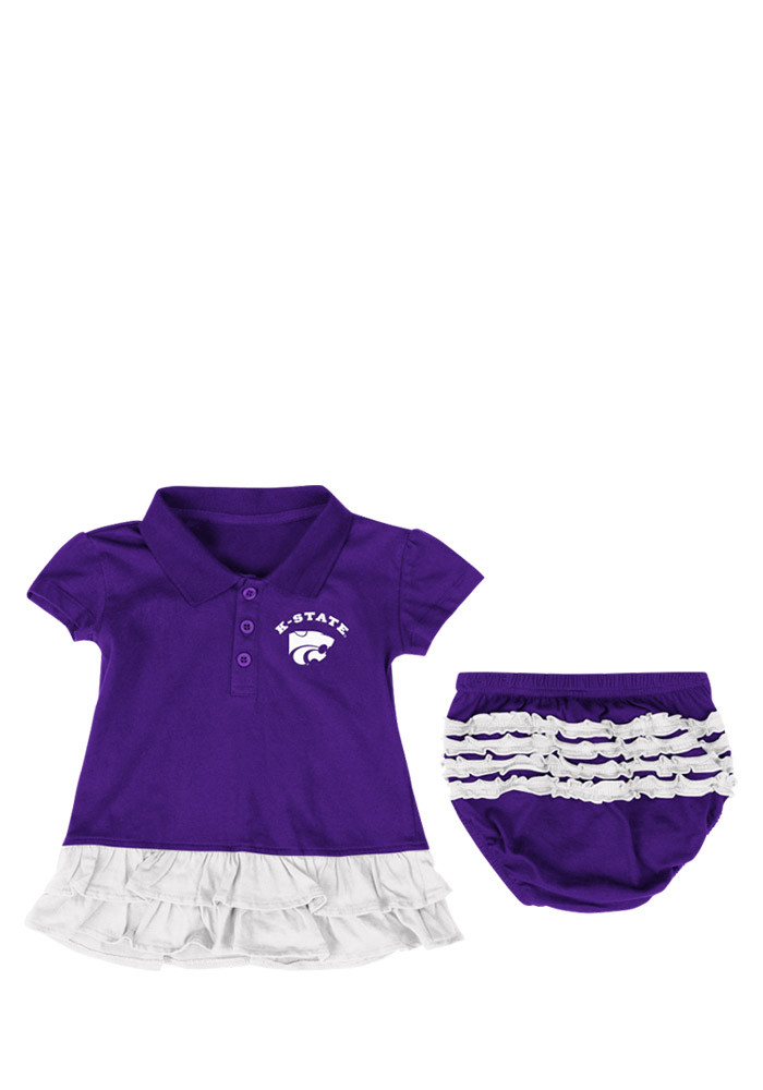 Colosseum K-State Wildcats Baby Girls Purple Infant Bella Ruffle Short Sleeve Dress - Image 1