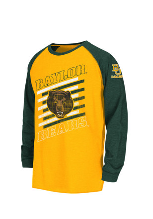 Colosseum Baylor Bears Kids Gold Youth Grate Raglan T-Shirt