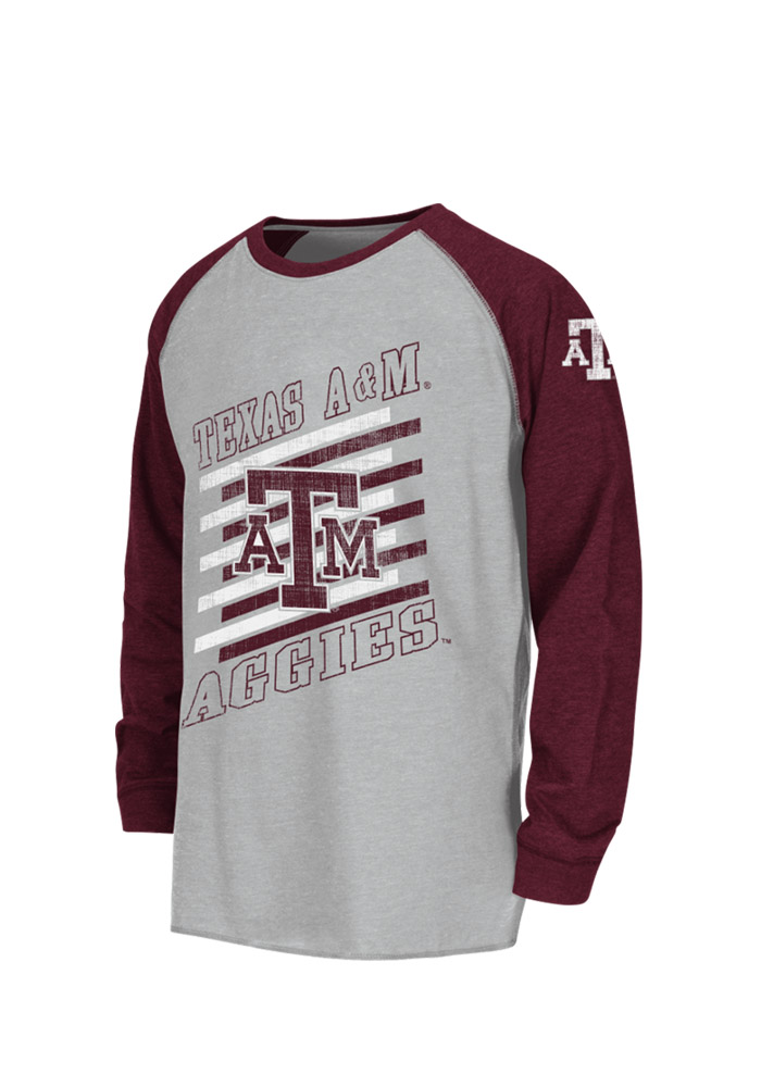 Colosseum Texas A&M Aggies Youth Grey Youth Grate Raglan Long Sleeve Fashion T-Shirt - Image 1