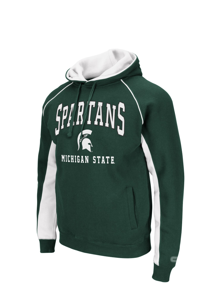 Colosseum Michigan State Spartans Mens Green Crest Big and Tall Hooded Sweatshirt - Image 1