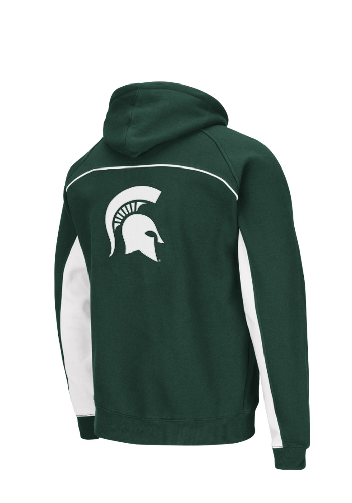 Colosseum Michigan State Spartans Mens Green Crest Big and Tall Hooded Sweatshirt - Image 2