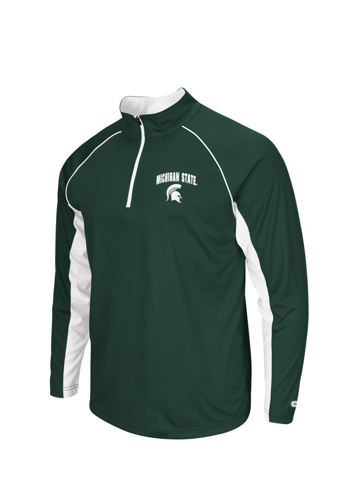 Colosseum Michigan State Spartans Mens Green Lineman Big and Tall 1/4 Zip Pullover - Image 1