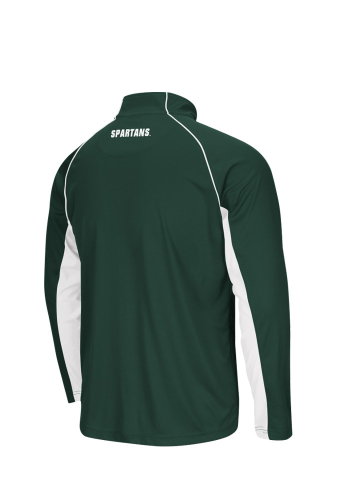 Colosseum Michigan State Spartans Mens Green Lineman Big and Tall 1/4 Zip Pullover - Image 2