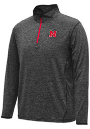 Colosseum Nebraska Mens Black Action Pass 1/4 Zip Performance Pullover