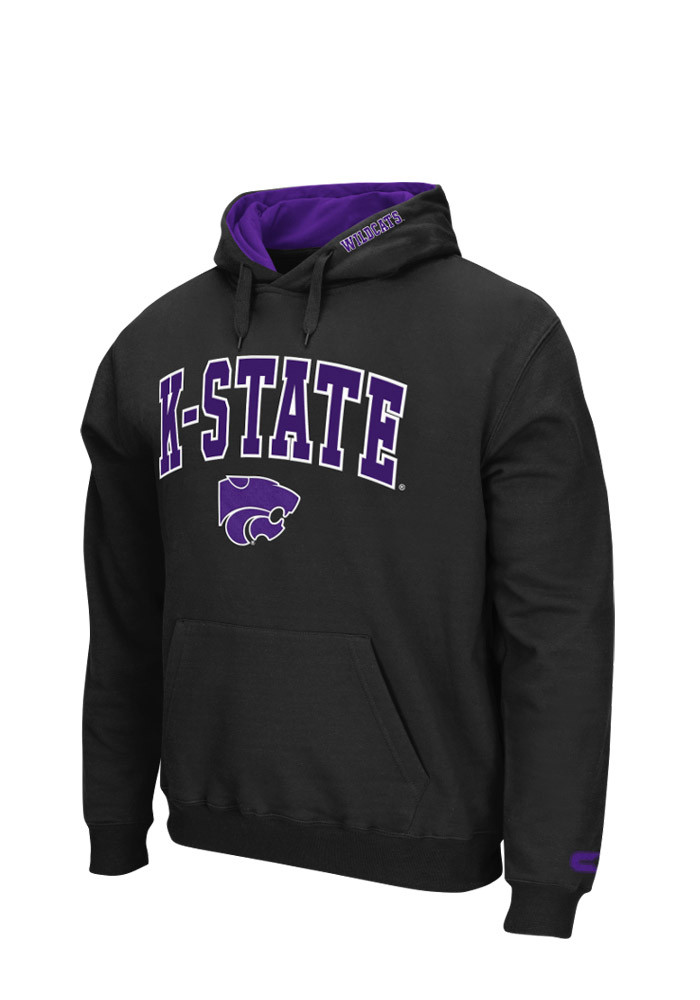 Colosseum K-State Wildcats Mens Black Zone Long Sleeve Hoodie - Image 1
