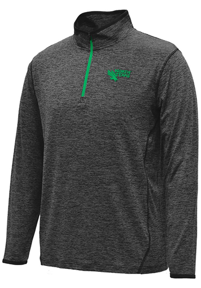 Colosseum North Texas Mean Green Mens Black Action Pass Long Sleeve 1/4 Zip Pullover - Image 1