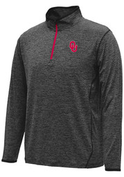 Colosseum Oklahoma Mens Black Action Pass 1/4 Zip Performance Pullover