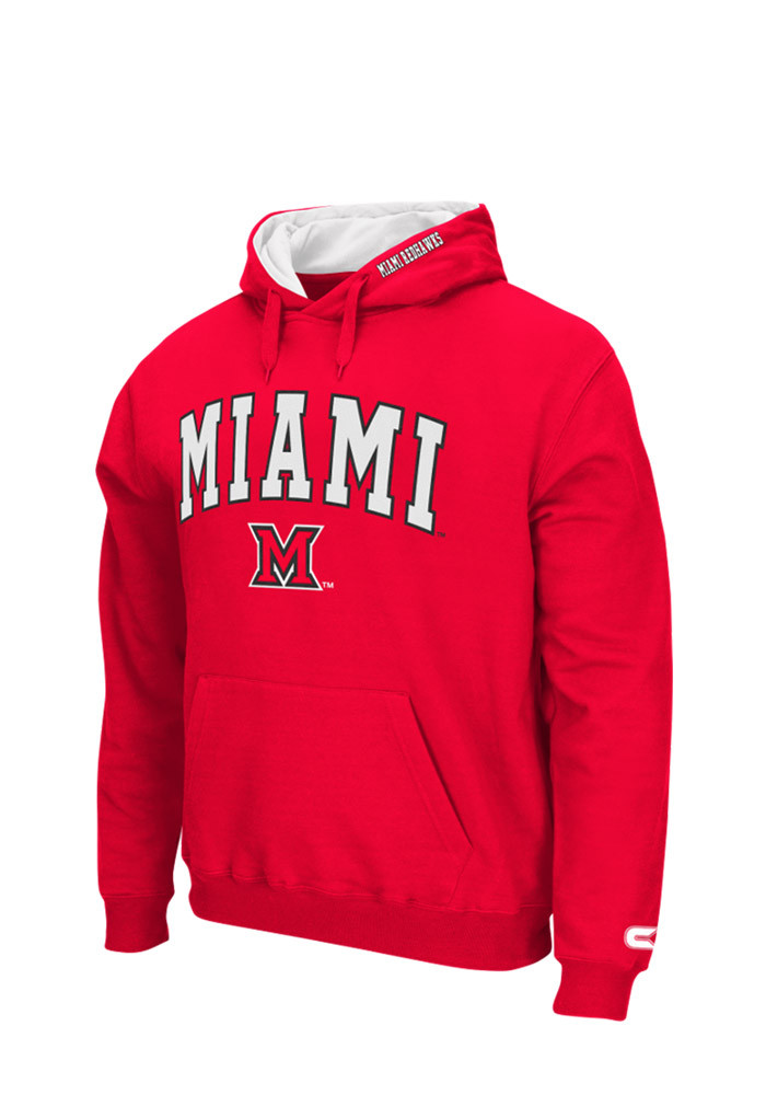 Colosseum Miami Redhawks Mens Red Zone Long Sleeve Hoodie - Image 1