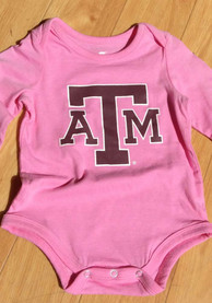Texas A&M Aggies Baby Pink Big Logo LS One Piece