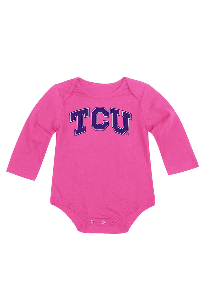 Colosseum TCU Horned Frogs Baby Pink Big Logo LS Tops LS One Piece - Image 1