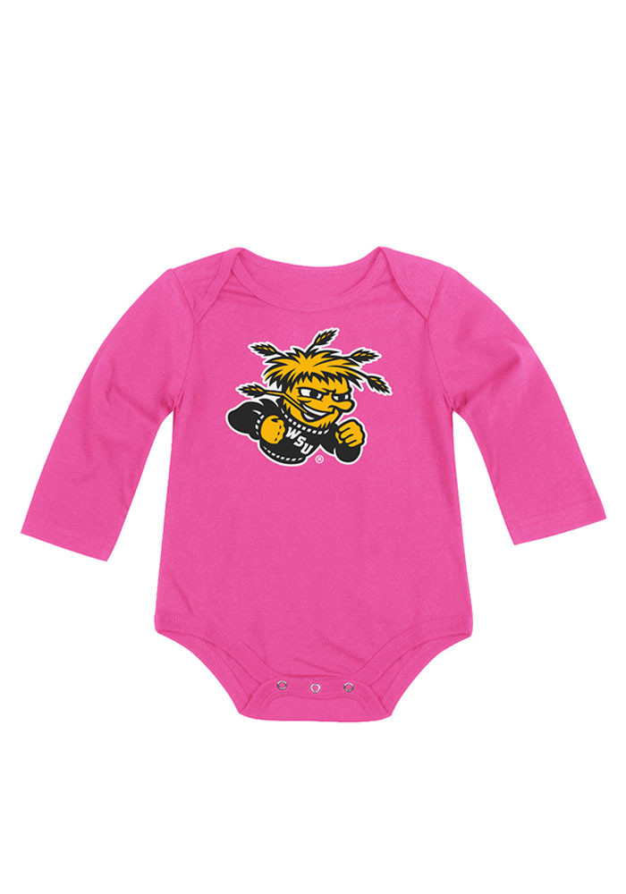 Colosseum Wichita State Shockers Baby Pink Big Logo LS Tops LS One Piece - Image 1