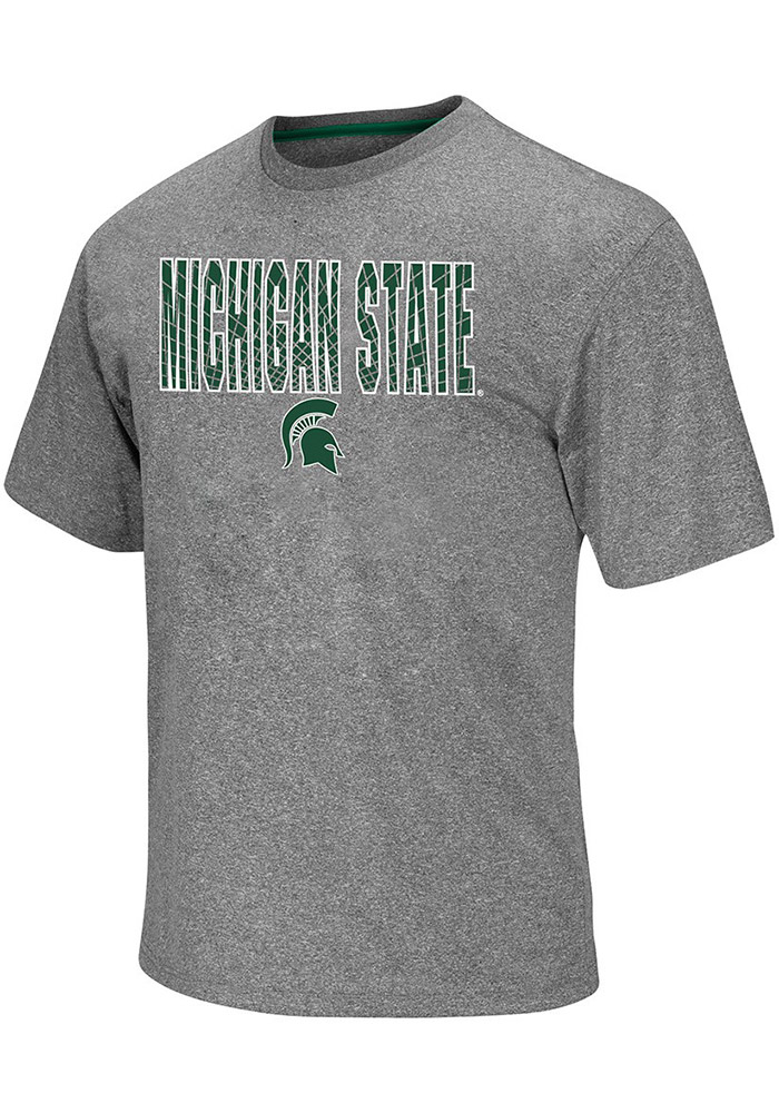 Colosseum Michigan State Spartans Charcoal Crosscut Short Sleeve T Shirt - Image 1