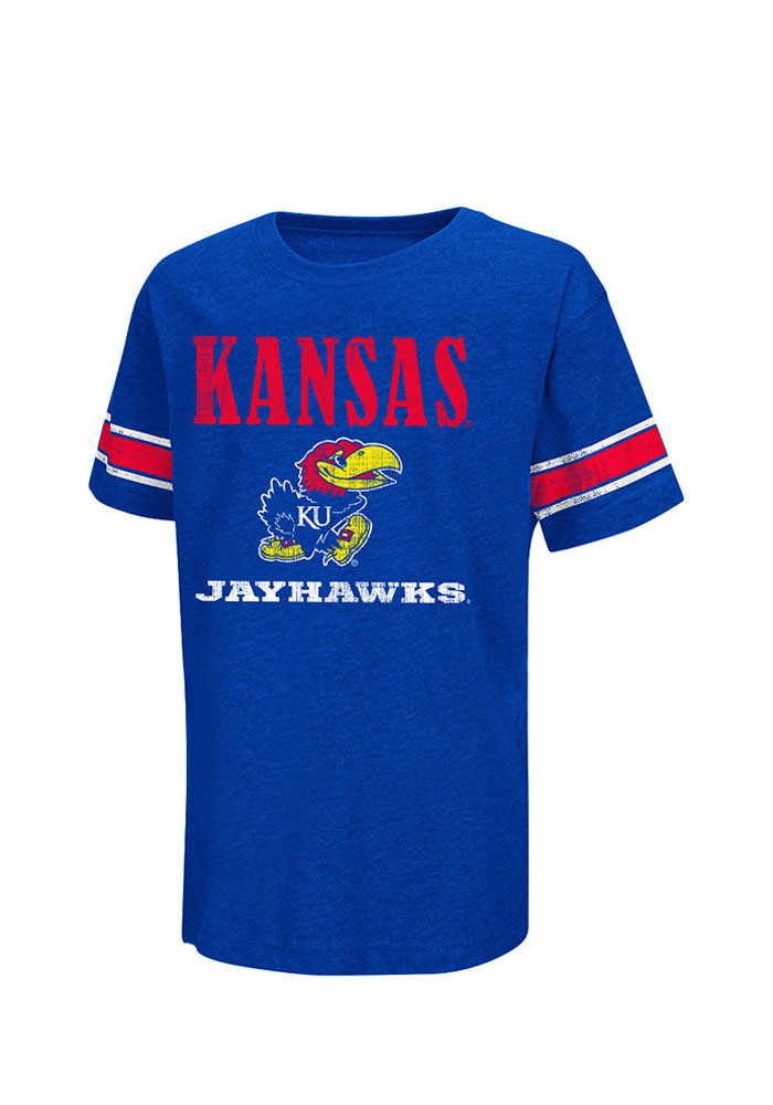 Colosseum Kansas Jayhawks Kids Blue Free Agent Short Sleeve T-Shirt - Image 1