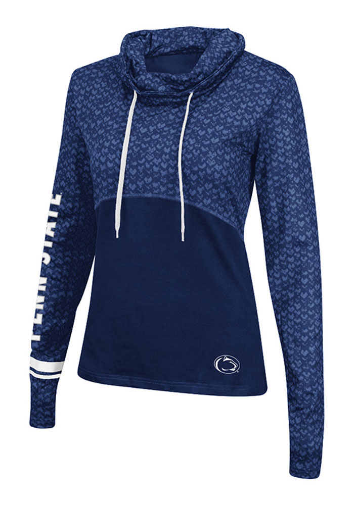 Colosseum Penn State Nittany Lions Womens Navy Blue Scaled Cowl Hooded Sweatshirt - Image 1