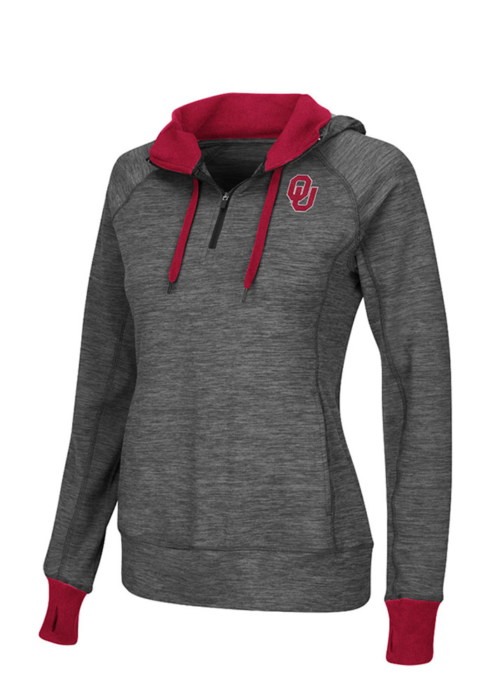 Colosseum Oklahoma Womens Grey Double Back 1/4 Zip Pullover - Image 1