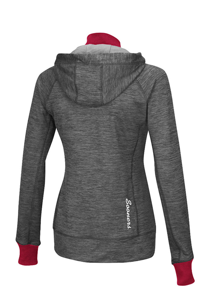 Colosseum Oklahoma Womens Grey Double Back 1/4 Zip Pullover - Image 2