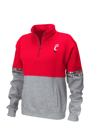 Colosseum Cincinnati Bearcats Womens Rudy Red 1/4 Zip Pullover