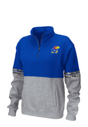 Colosseum Kansas Jayhawks Womens Rudy Blue 1/4 Zip Pullover