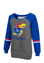 Colosseum Kansas Jayhawks Womens Rudy Grey Crew Sweatshirt