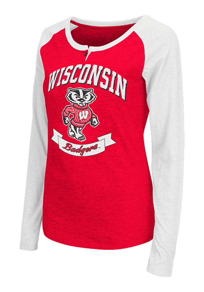 Colosseum Wisconsin Womens Red Healy Long Sleeve Scoop Neck - Image 1