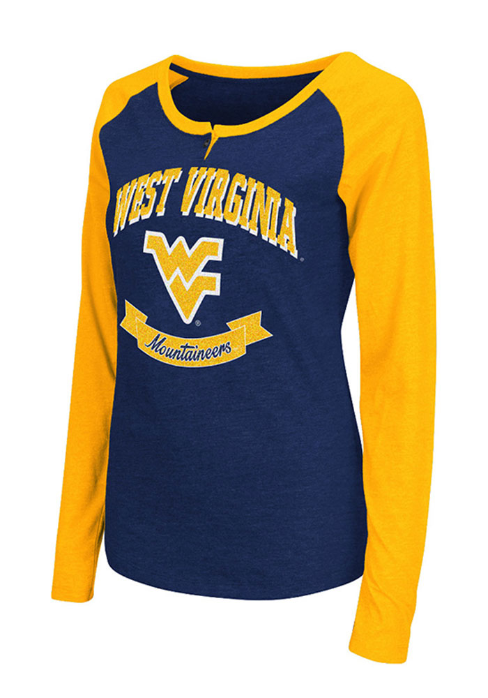 Colosseum WVU Womens Navy Blue Healy Long Sleeve Scoop Neck - Image 1