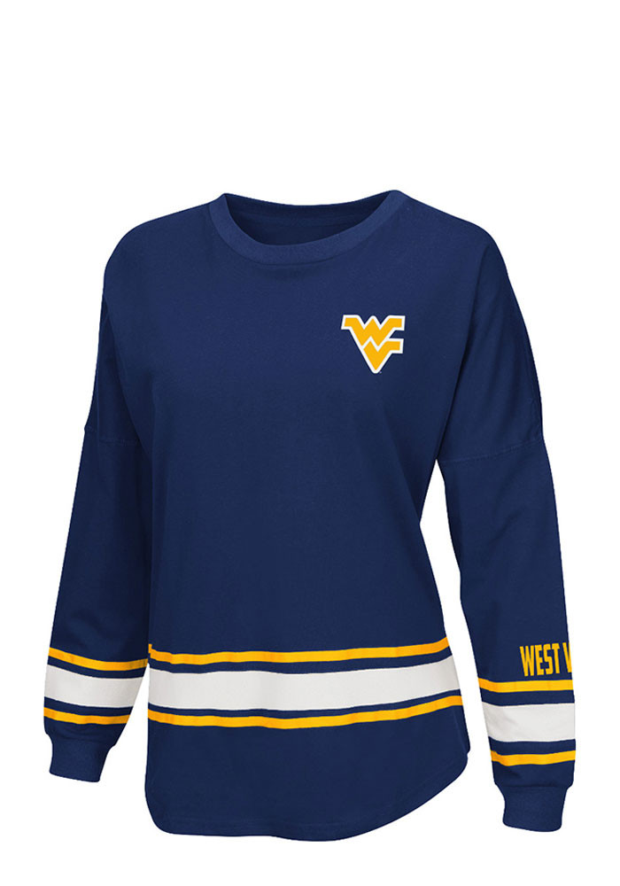 Colosseum West Virginia Mountaineers Womens Navy Blue All Around LS Tee - Image 1