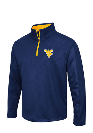 Colosseum WVU Mens Navy Blue Embossed 1/4 Zip Performance Pullover