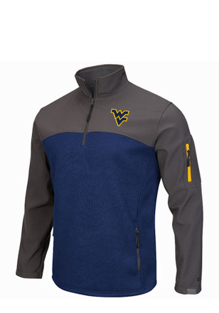 Colosseum WVU Mens Navy Blue Plow IV 1/4 Zip Performance Pullover