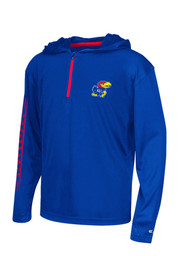Colosseum Kansas Jayhawks Kids Sleet Blue Quarter Zip Shirt