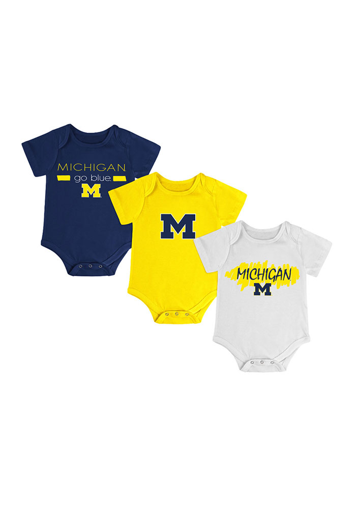Michigan Wolverines Baby Navy Blue Triple Play One Piece - Image 1