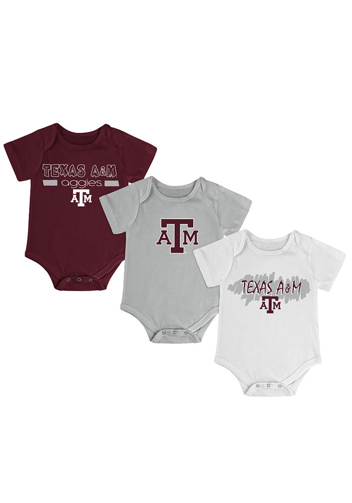Texas A&M Aggies Baby Maroon Triple Play One Piece - Image 1