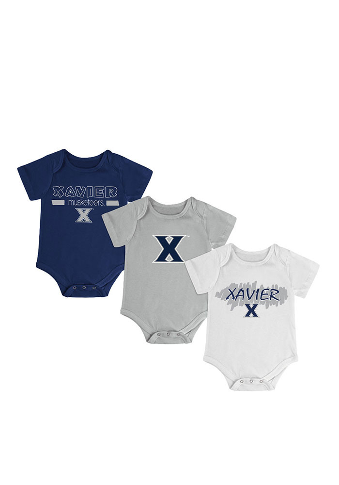 Colosseum Xavier Musketeers Baby Navy Blue Triple Play Creeper - Image 1
