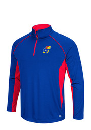 Colosseum Kansas Jayhawks Mens Airstream 1/4 Zip Pullover - Blue