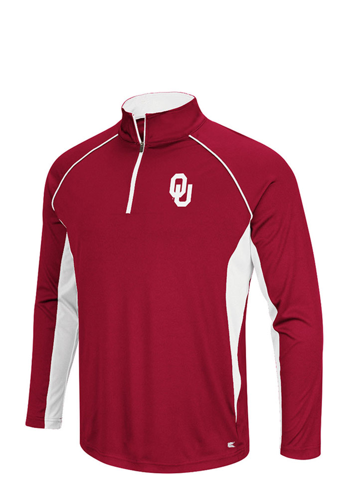 Colosseum Oklahoma Sooners Mens Crimson Airstream Big and Tall 1/4 Zip Pullover - Image 1