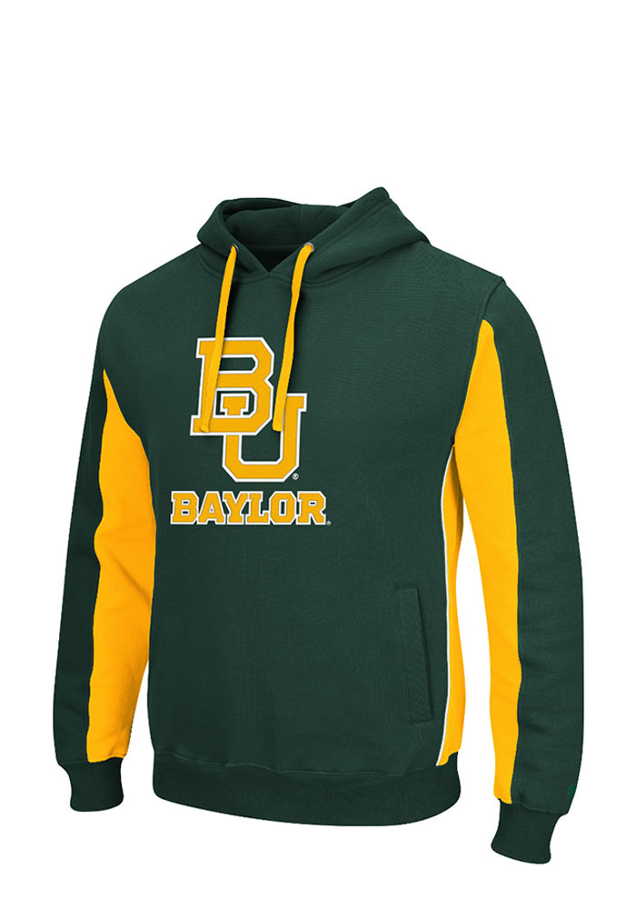 Colosseum Baylor Bears Mens Green Thriller II Big and Tall Hooded Sweatshirt - Image 1