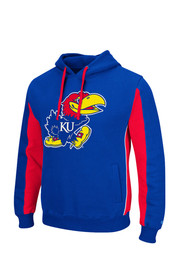 Colosseum KU Jayhawks Mens Blue Thriller II Hooded Sweatshirt