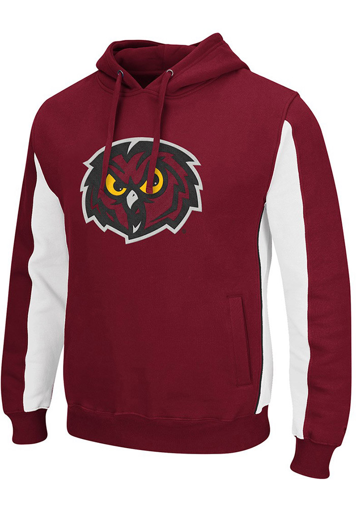 Colosseum Temple Owls Mens Cardinal Thriller II Big and Tall Hooded Sweatshirt - Image 1