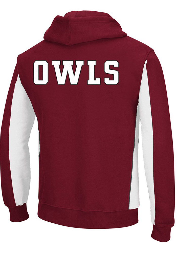 Colosseum Temple Owls Mens Cardinal Thriller II Big and Tall Hooded Sweatshirt - Image 2