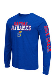 Colosseum KU Jayhawks Mens Blue Game Changer Long Sleeve T-Shirt