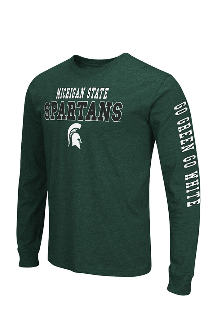 Colosseum Michigan State Spartans Mens Green Game Changer Big and Tall Long Sleeve T-Shirt - Image 1