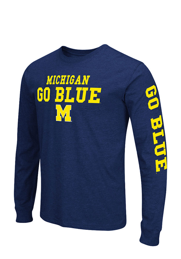 Colosseum Michigan Wolverines Mens Navy Blue Game Changer Big and Tall Long Sleeve T-Shirt - Image 1